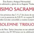 Días 3, 4, 5 a las 20:00 Horas la Hermandad de Santa Cruz celebra Triduo Sacramental