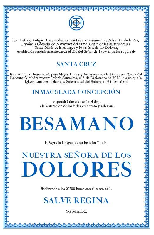 Besamano Nuestra Señora de los Dolores