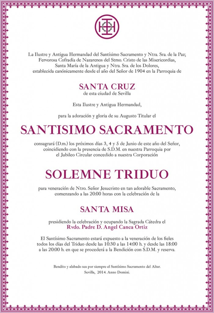 triduo sacramental hermandad de santa cruz