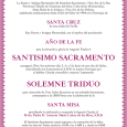 Los próximos días 3, 4 y 5 de Junio de este año del Señor, la Hermandad de Santa Cruz celebra Triduo Sacramental, ocupando la Sagrada Cátedra el Rvdo. Padre D. Antonio María Calero de los Ríos, S.D.B.