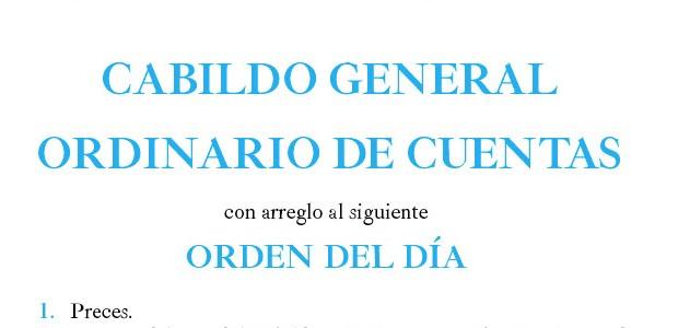 El próximo miércoles día 16 de Octubre, a las 20:30 horas en primera citación, y a las 21 en segunda, en las dependencias de la Parroquia de Santa Cruz, se celebrará CABILDO GENERAL ORDINARIO DE CUENTAS